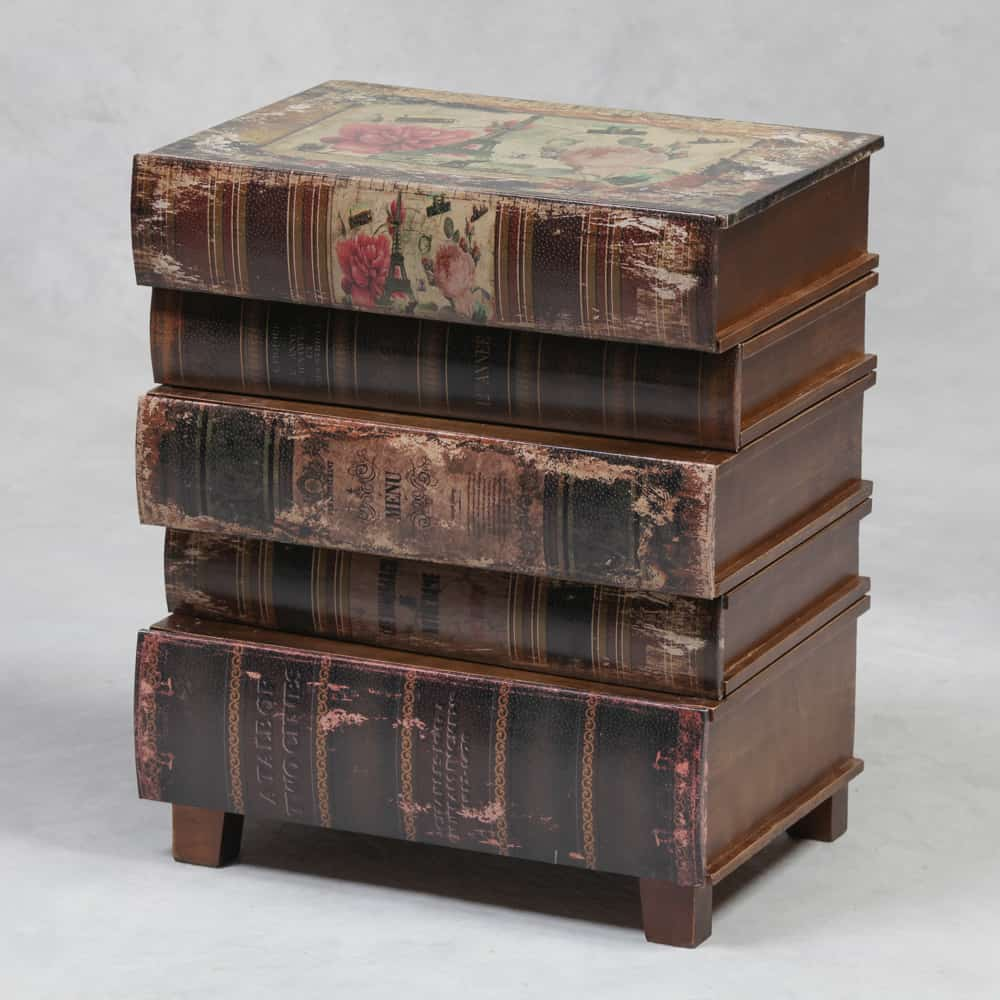 Antique Stack Of Books Side Table With Drawers Dmw Furniture