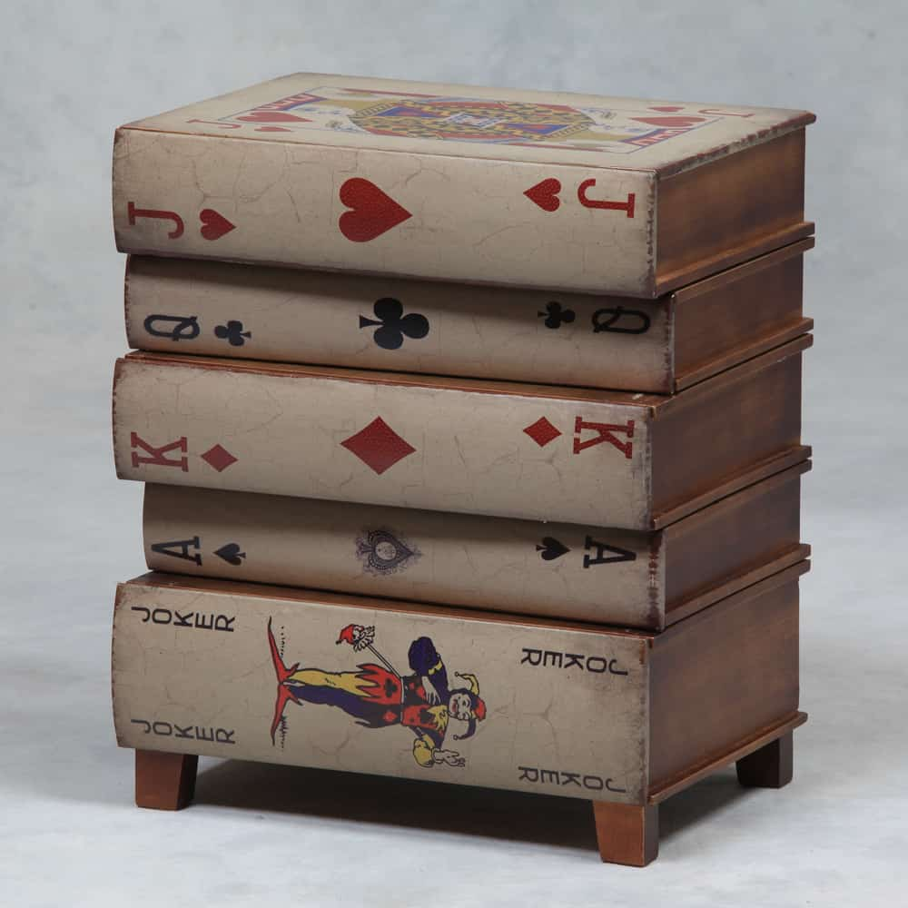 Antique Stack Of Playing Cards Side Table With Drawers