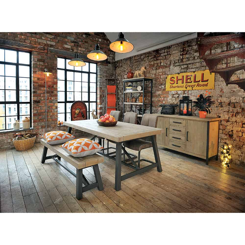 Lowry Industrial Rustic Chic Dining Table With Chairs And