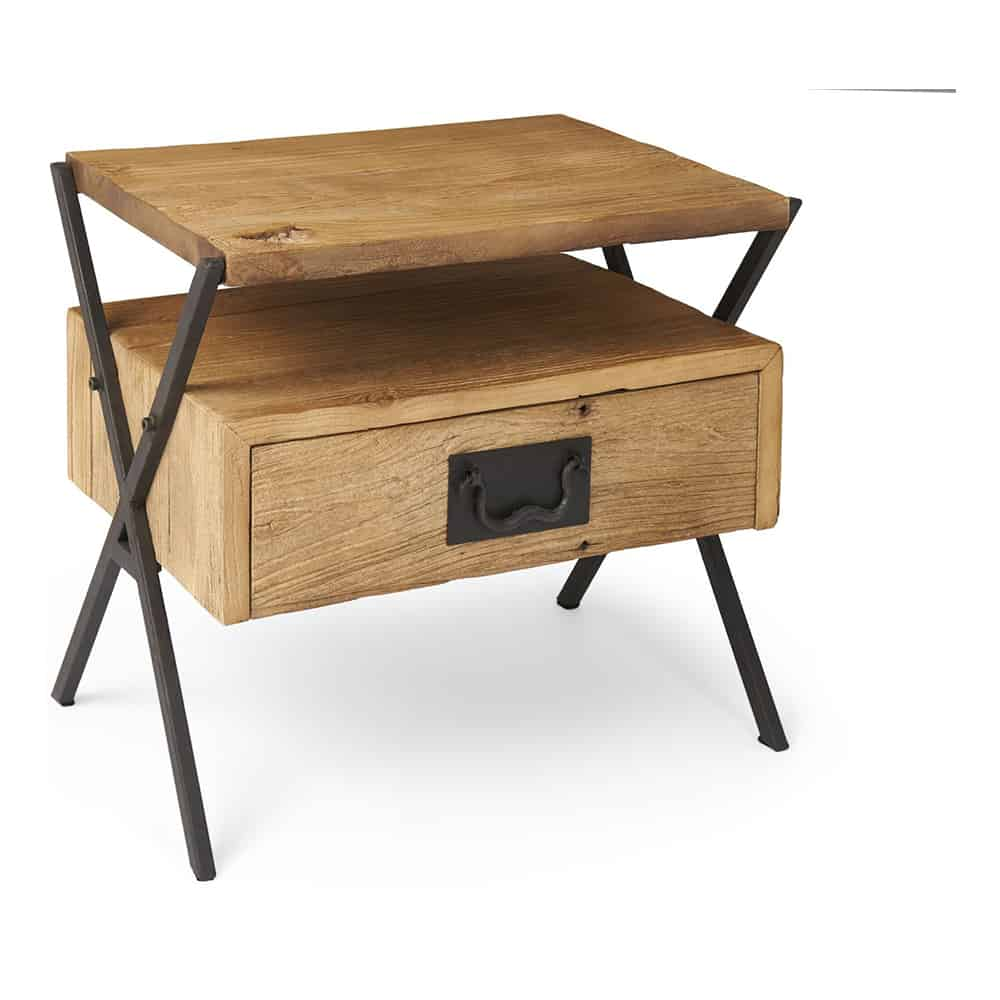 boston industrial side table with drawer www. Black Bedroom Furniture Sets. Home Design Ideas