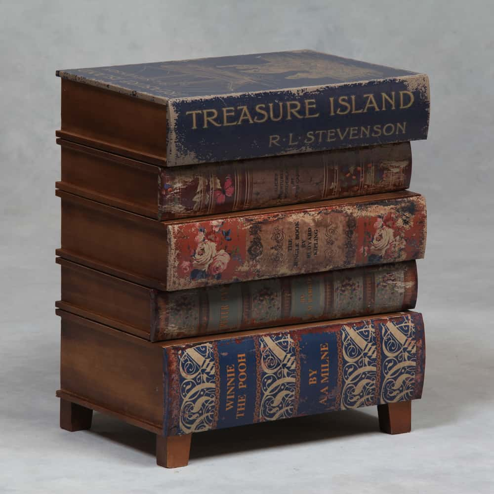 Antique Stack Of Chidren S Books Side Table With Drawers