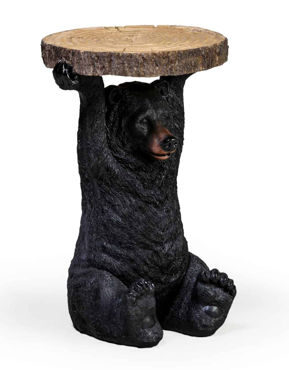 Black Bear Holding Trunk Slice Side Table Dmw Furniture