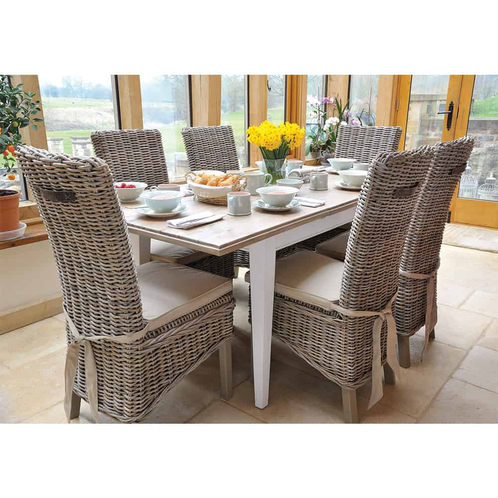 Lulworth Extending Dining Table And 6 Rattan Chairs Www