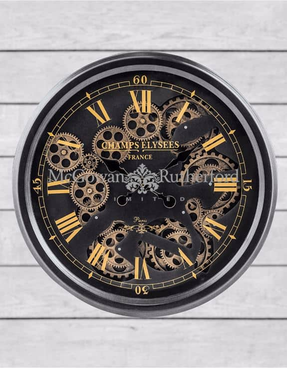 Black And Gold Moving Gears Clock Dmw Furniture
