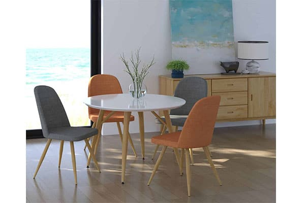 Round Contempo Table 4 X Reya Chairs, Modern Round Dining Set
